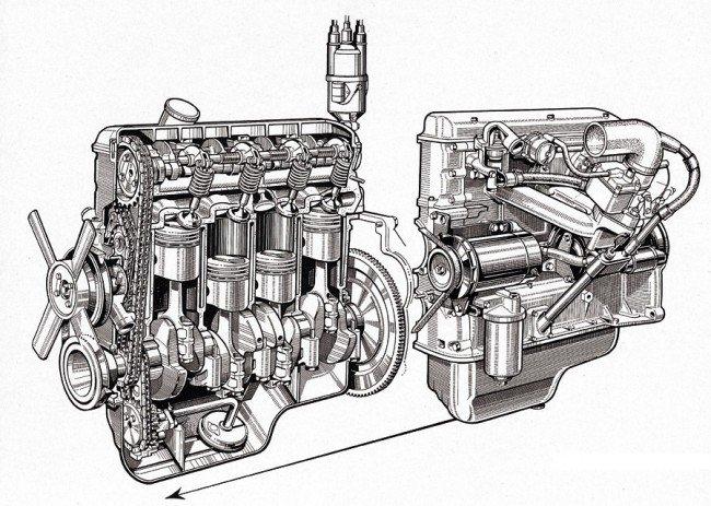 Схема двигателя BMW M10