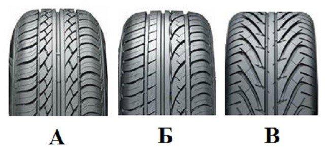А – симметричный рисунок, Б – несимметричный, В – направленный рисунок протектора