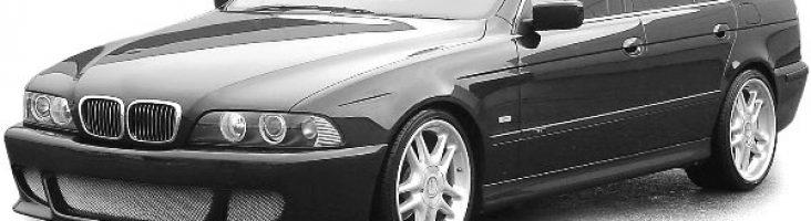 Е39 – четвёртое поколение пятой серии БМВ черного цвета
