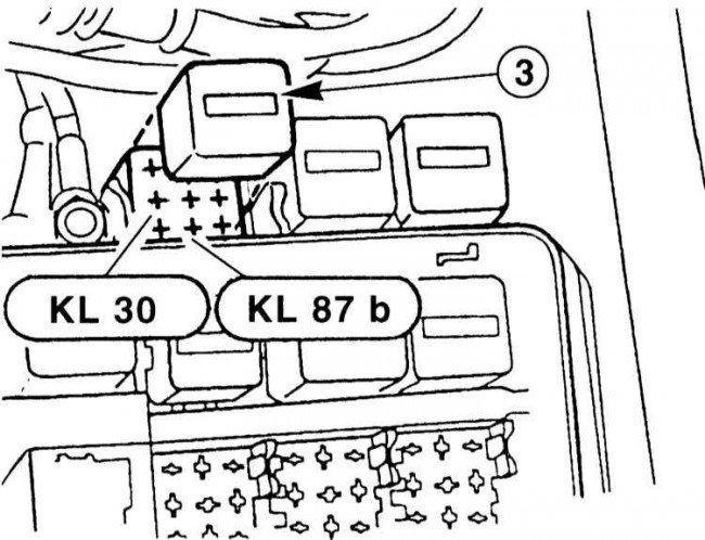 Схема расположения реле включения бензанасоса BMWE39